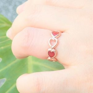 Custom Designed Heart Ring - Red Jade, Rose Gold